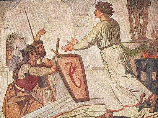 Segimund greift für Arminius zu den Waffen