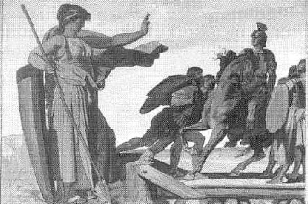 Eine Priesterin (Germania) hindert Drusus am weiteren Eindringen nach Germanien