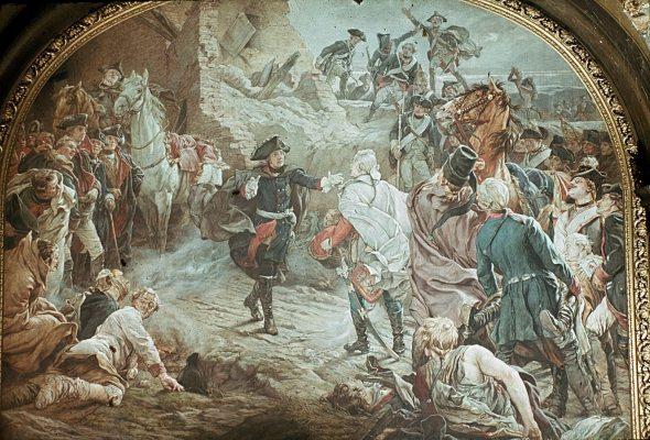 Friedrich der Große begrüßt Ziethen nach der Schlacht von Torgau 1760 (entstanden 1882)